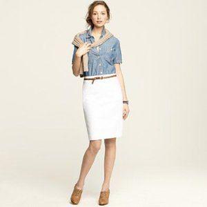 J. Crew White Super Fine Cotton Pencil Skirt 2